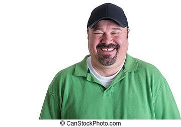 desgastar, camisa, verde, retrato, alegre, homem