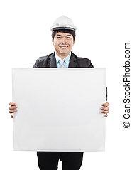 desgastar, capacete, engenharia, segurança, segurando, branca, bandeira, vazio, homem