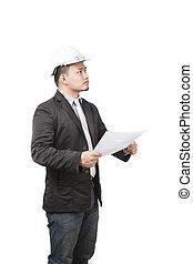 desgastar, capacete, engineeri, trabalhando, jovem, segurança, asiático, vista lateral