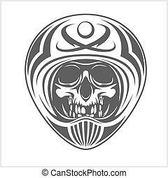 desgastar, capacete, motocross, cranio