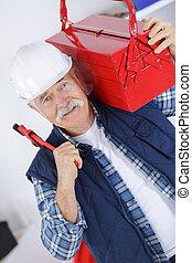 desgastar, capacete, trabalhador, casaco, retrato