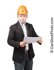 desgastar, capacete, trabalhando, jovem, engenharia, segurança, asiático, holdin, homem