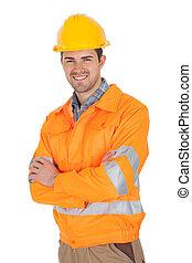 desgastar, casaco, segurança, trabalhador, retrato
