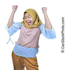 desgastar, celebra, mulher, sucesso, grande, energia, celebrando, trabalho, bom, hijab, vitória, expressar, positivo, poder, feliz, asiático, excitado, emotions.