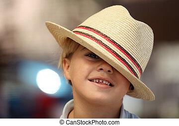 desgastar, chapéu, fedora, criança