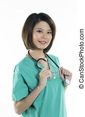desgastar, chinês, doutor, verde, esfregações, mulheres