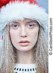desgastar, congelado, neve, rosto, santa, menina, chapéu