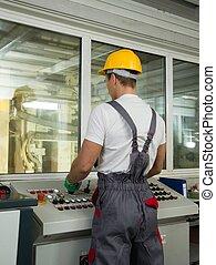 desgastar, controle lugar, fábrica, segurança, operador, chapéu