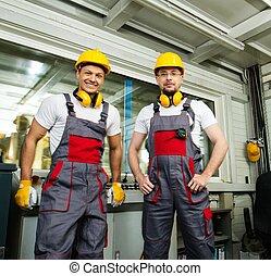 desgastar, controle lugar, trabalhadores, fábrica, dois, segurança, chapéu