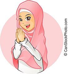 desgastar, cor-de-rosa, menina, muçulmano, véu