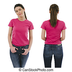 desgastar, cor-de-rosa, mulher, camisa, morena, em branco