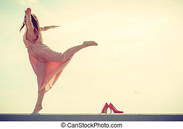 Desgastar, Cor-de-rosa, mulher, Dançar, luz, longo, Vestido
