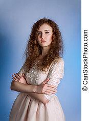 desgastar, cor-de-rosa, mulher, romanticos, vindima, longo, dress., hair., moda