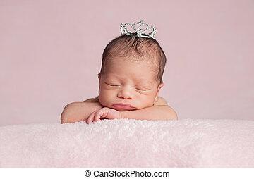 desgastar, coroa, bebê recém-nascido, menina, princesa
