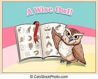 desgastar, coruja, óculos, estudar