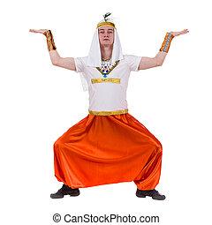 desgastar, costume., dançar, pharaoh, egípcio