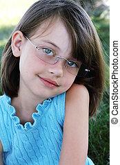 desgastar, criança, óculos