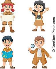 desgastar, crianças, grupo, explorador, trajes, caricatura, feliz