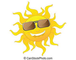 desgastar, cute, óculos de sol, caricatura, sol