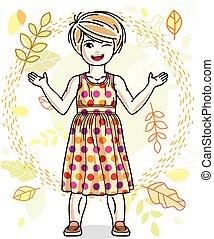 desgastar, cute, menininha, na moda, character., clothes., outono, vetorial, posar, fundo, loiro, casual, paisagem, feliz