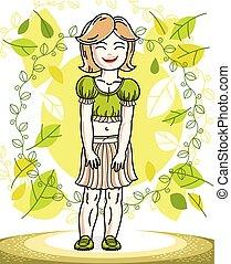 desgastar, cute, menininha, na moda, primavera, character., clothes., vetorial, posar, fundo, loiro, casual, paisagem, feliz