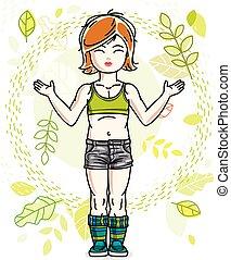 desgastar, cute, pequeno, na moda, vermelho-haired, primavera, character., clothes., vetorial, posar, fundo, menina, casual, paisagem, feliz