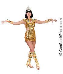 desgastar, dançar mulher, egípcio, pharaoh, costume.