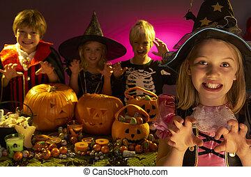 desgastar, dia das bruxas, trajes, espantar, partido, crianças