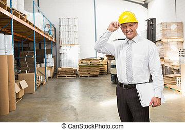 desgastar, difícil, gerente, área de transferência, segurando, armazém, chapéu