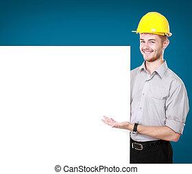 desgastar, difícil, jovem, segurando, em branco, billboard, chapéu, homem