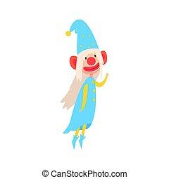 desgastar, engraçado, gnomo, coloridos, pintado, azul, personagem, ilustração, rosto, vetorial, caricatura