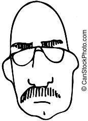 desgastar, esboço, calvo, óculos, bigode, homem