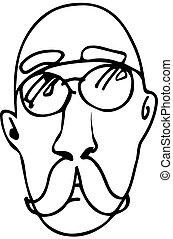 desgastar, esboço, calvo, glassesve, bigode, homem