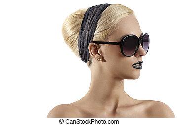 desgastar, estilo, mulher, óculos de sol, loura, jovem, contra, cabelo, lábios, moda, experiência preta, retrato, branca