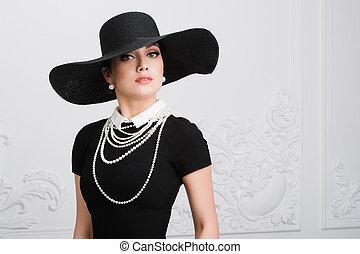 desgastar, estilo, mulher, antigas, vindima, penteado, portrait., retro, formado, maquiagem, menina, chapéu