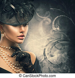 desgastar, estilo, mulher, antigas, vindima, portrait., retro, formado, menina, chapéu