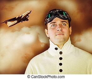 Desgastar, estilo, roupas, antiquado,  sepia, jovem, ÓCULOS,  retro, Retrato, homem, piloto