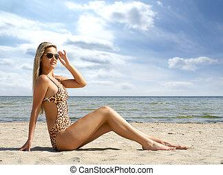 desgastar, excitado, senhora, swimsuit