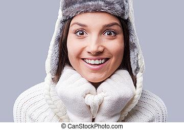 desgastar, ficar, finally, inverno, jovem, contra, cinzento, enquanto, morno, fundo, comes., mulheres, roupa, feliz