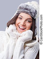 desgastar, ficar, inverno, happy., feliz, jovem, contra, cinzento, enquanto, morno, fundo, sentimento, roupa, mulheres