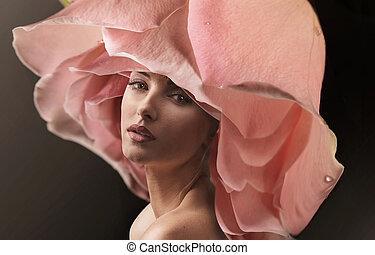desgastar, flor, rosa, closeup, retrato, senhora, chapéu