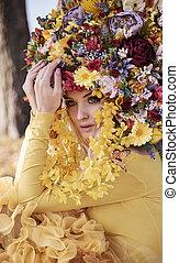 desgastar, florais, loiro, coroa, atraente