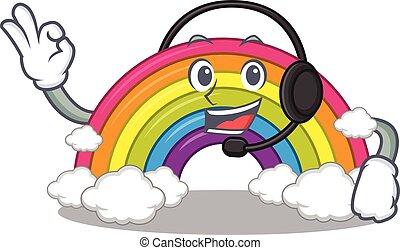 desgastar, fone, personagem, deslumbrante, arco íris, mascote, conceito