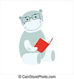 desgastar, hipopótamo, animais, biblioteca, personagem, bookworm, jardim zoológico, livro, ilustração, cobrança, parte, leitura, sorrindo, caricatura, óculos