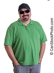 desgastar, homem, óculos de sol, bolsos, mãos