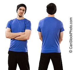 desgastar, homem azul, camisa, em branco