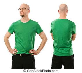desgastar, homem, camisa verde, em branco