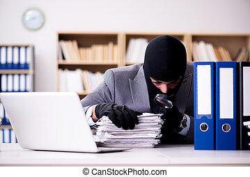 desgastar, homem negócios, balaclava, criminal, escritório