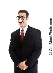 desgastar, isolado, groucho, fundo, homem negócios, sorrindo, branca, óculos