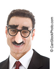 desgastar, isolado, groucho, homem negócios, sorrindo, marx, óculos